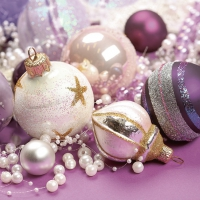 Servietten 33x33 cm - White & Purple Christmas Baubles