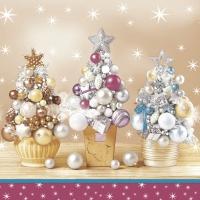 Servietten 33x33 cm - Bauble Christmas Trees