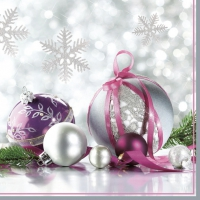 Servietten 33x33 cm - Silver & Purple Christmas Baubles