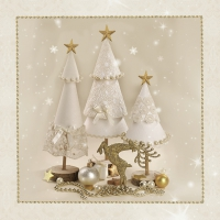 Servietten 33x33 cm - White Handmade Christmas Trees