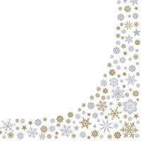 Servietten 33x33 cm - Gold & Silver Snowflakes Border