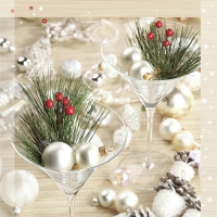 Servietten 33x33 cm - Xmas Decors in Martini Glasses