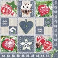 Servietten 33x33 cm - Knitted Collage Blue