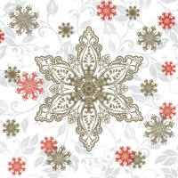 Servietten 33x33 cm - Gold & Red Ornate Snowflakes