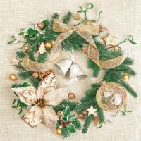 Servietten 33x33 cm - Gold Decorated Christmas Wreath