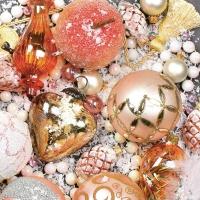 Servietten 33x33 cm - Weihnachten Glitzernde Christbaumkugeln