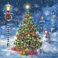 Servietten 33x33 cm - Weihnachtsabend im Dorf