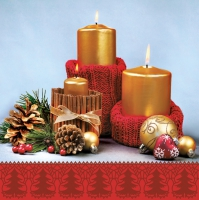 Servietten 33x33 cm - Candles in Cinnamon Canes and Red Sweaters