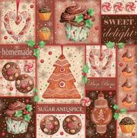Servietten 33x33 cm - Zucker und Gewürze Lebkuchen-Collage