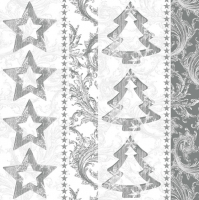 Servietten 33x33 cm - Silver Graphic Stars and Trees