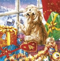 Servietten 33x33 cm - Weihnachten mit Hund