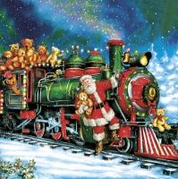 Servietten 33x33 cm - Santa Teddy Bear Train