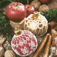 Servietten 33x33 cm - Lace Red and Gold Baubles