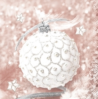 Servietten 33x33 cm - Pearl Bauble with Feathers
