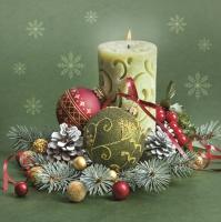 Servietten 33x33 cm - Ornate Candle & Bauble Composition