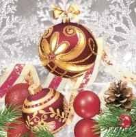 Servietten 33x33 cm - Elegance Red Baubles with Snowflakes