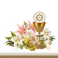 Servietten 33x33 cm - Chalice with Lilies and Grapes
