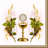 Servietten 33x33 cm - Chalice with Grapes and Wheat Pink