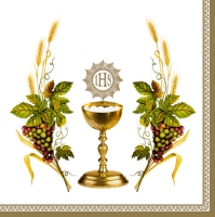 Servietten 33x33 cm - Chalice with Grapes and Wheat White