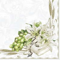 Servietten 33x33 cm - Prayer Book with Lilies and Grapes