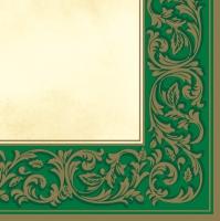 Servietten 33x33 cm - Rokoko-Muster Grün