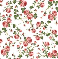 Servietten 33x33 cm - Small Roses White