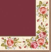 Servietten 33x33 cm - Vintage Roses Claret