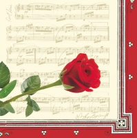 Lunch Servietten Roses of music cream/red