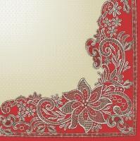 Servietten 33x33 cm - Richelieu Lace Red