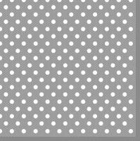 Servietten 33x33 cm - Graue Punkte