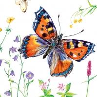 Servietten 33x33 cm - Kleiner Schildpatt Schmetterling