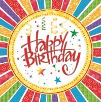 Servietten 33x33 cm - Happy Birthday with Stripes
