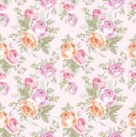 Servietten 33x33 cm - Pastel Roses Wallpaper