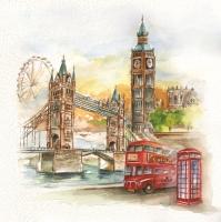 Servietten 33x33 cm - London in Watercolour