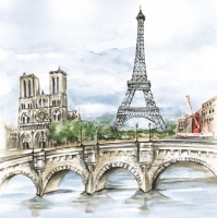 Servietten 33x33 cm - Paris in Watercolour