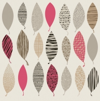 Servietten 33x33 cm - Patterned Leave Shapes