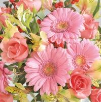Servietten 33x33 cm - Gerberas & Pink Roses