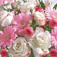 Servietten 33x33 cm - Gerberas & White Roses