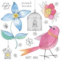 Servietten 33x33 cm - Süße Vögel