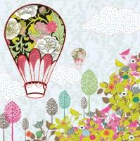 Servietten 33x33 cm - Flowers Balloon Ride