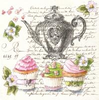 Servietten 33x33 cm - Retro Cupcakes und Teekanne