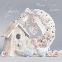 Servietten 33x33 cm - Shabby Chic with Birdhouse