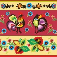 Servietten 33x33 cm - Folklore Roosters Cream & Red