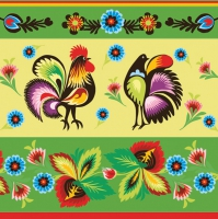 Servietten 33x33 cm - Folklore Roosters Green & Cream