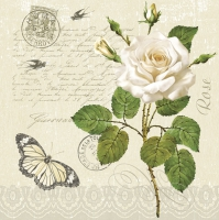 Servietten 33x33 cm - Vintage Rose Twig with Butterfly