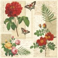Servietten 33x33 cm - Flowers and Butterflies on Vintage Background