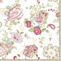 Servietten 33x33 cm - Wallpaper with Roses White