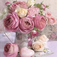 Servietten 33x33 cm - Pink Roses in Vintage Vase