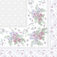 Servietten 33x33 cm - Blatt-Ornamentrahmen mit Damaszenermusterung