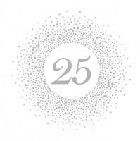 Servietten 33x33 cm - 25 Silver Dots